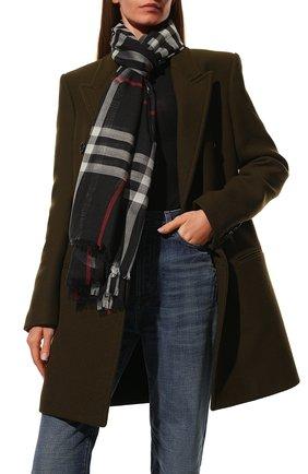 Мужские шарф из шерсти и шелка BURBERRY синего цвета, арт. 8015406 | Фото 2