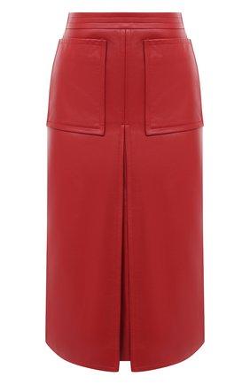 Женская кожаная юбка BURBERRY бордового цвета, арт. 8030102 | Фото 1