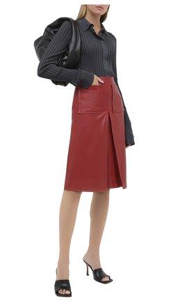 Женская кожаная юбка BURBERRY бордового цвета, арт. 8030102 | Фото 2
