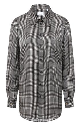Женская шелковая рубашка BURBERRY серого цвета, арт. 8030903 | Фото 1
