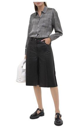 Женская шелковая рубашка BURBERRY серого цвета, арт. 8030903 | Фото 2