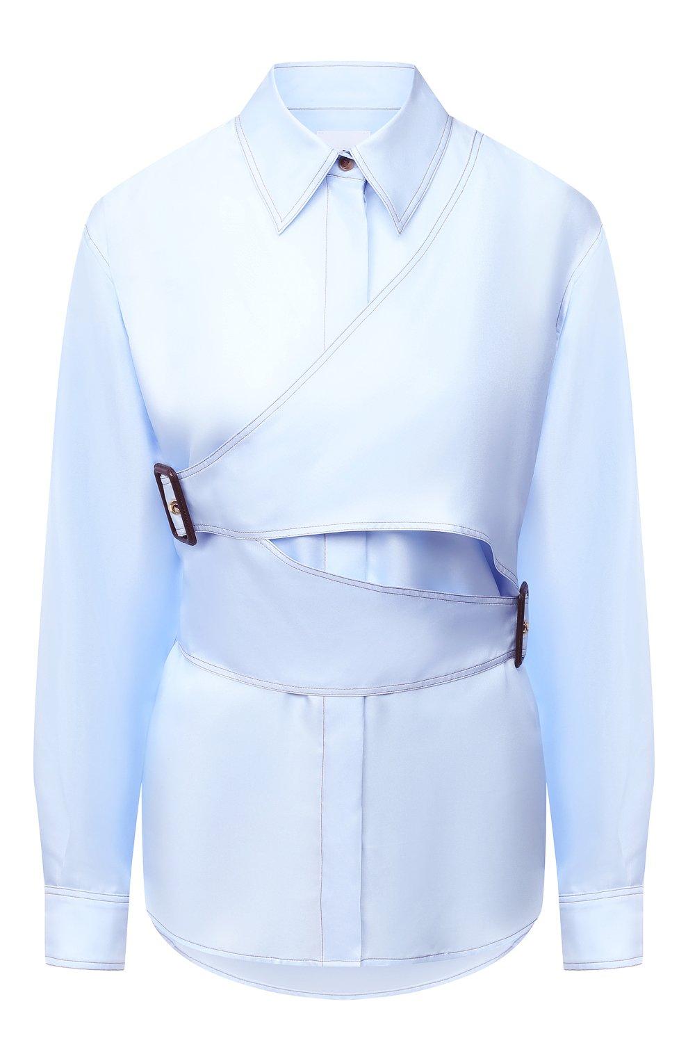 Женская шелковая рубашка BURBERRY голубого цвета, арт. 8031316   Фото 1