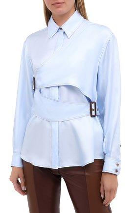 Женская шелковая рубашка BURBERRY голубого цвета, арт. 8031316   Фото 3