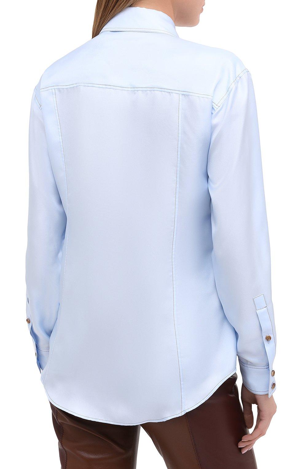Женская шелковая рубашка BURBERRY голубого цвета, арт. 8031316   Фото 4