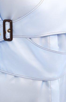 Женская шелковая рубашка BURBERRY голубого цвета, арт. 8031316   Фото 5
