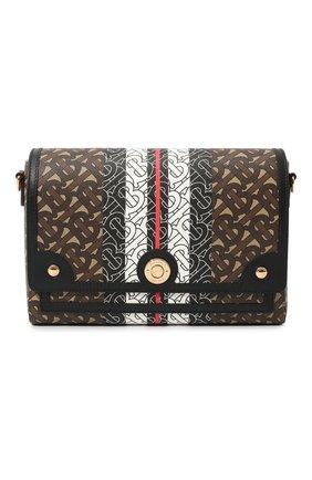 Женская сумка note BURBERRY коричневого цвета, арт. 8031748 | Фото 1 (Ремень/цепочка: На ремешке; Размер: small; Сумки-технические: Сумки через плечо; Материал: Экокожа)