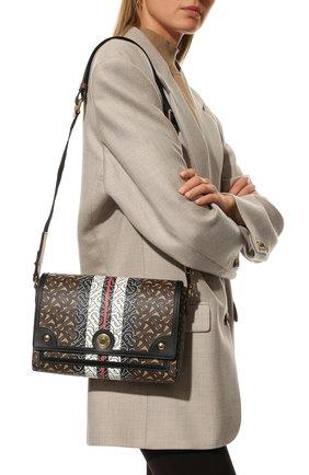 Женская сумка note BURBERRY коричневого цвета, арт. 8031748 | Фото 2 (Ремень/цепочка: На ремешке; Размер: small; Сумки-технические: Сумки через плечо; Материал: Экокожа)