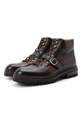Мужские кожаные ботинки MAGNANNI темно-коричневого цвета, арт. 22379/MANCHESTER | Фото 1