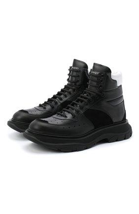 Мужские кожаные кроссовки ALEXANDER MCQUEEN черного цвета, арт. 627221/WHRH6 | Фото 1