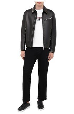 Мужские кожаные кеды SAINT LAURENT черного цвета, арт. 603223/1JZE0 | Фото 2 (Подошва: Плоская; Материал внутренний: Натуральная кожа)