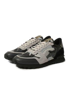 Мужские комбинированные кроссовки valentino garavani rockrunner VALENTINO темно-серого цвета, арт. UY2S0723/XVU | Фото 1