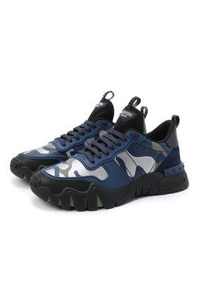 Мужские комбинированные кроссовки valentino garavani rockrunner plus VALENTINO темно-синего цвета, арт. UY2S0C88/MHB | Фото 1