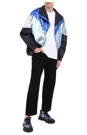 Мужские комбинированные кроссовки valentino garavani rockrunner plus VALENTINO темно-синего цвета, арт. UY2S0C88/MHB | Фото 2