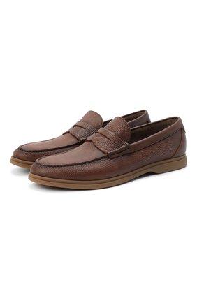 Мужские кожаные пенни-лоферы BRUNELLO CUCINELLI коричневого цвета, арт. MZUT0GB946 | Фото 1