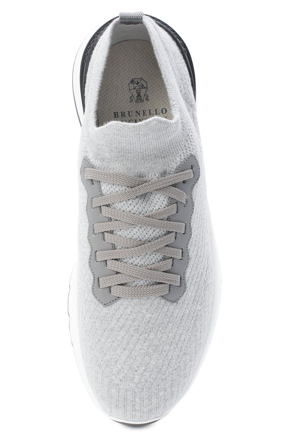 Мужские текстильные кроссовки BRUNELLO CUCINELLI светло-серого цвета, арт. MZUPMB0252 | Фото 5