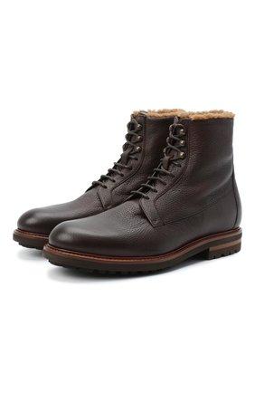 Мужские кожаные ботинки BRUNELLO CUCINELLI темно-коричневого цвета, арт. MZUCSMM893   Фото 1