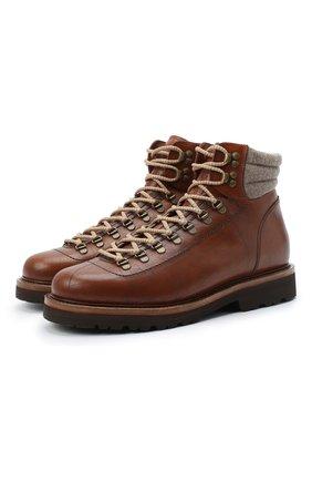 Мужские кожаные ботинки BRUNELLO CUCINELLI коричневого цвета, арт. MZUIFMS890 | Фото 1