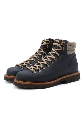 Мужские кожаные ботинки BRUNELLO CUCINELLI синего цвета, арт. MZUSMFS890 | Фото 1 (Материал внутренний: Натуральная кожа; Мужское Кросс-КТ: Ботинки-обувь, Хайкеры-обувь; Подошва: Плоская)