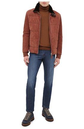 Мужские кожаные ботинки BRUNELLO CUCINELLI синего цвета, арт. MZUSMFS890 | Фото 2 (Материал внутренний: Натуральная кожа; Мужское Кросс-КТ: Ботинки-обувь, Хайкеры-обувь; Подошва: Плоская)