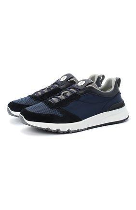 Мужские комбинированные кроссовки BRUNELLO CUCINELLI темно-синего цвета, арт. MZUUST0254 | Фото 1
