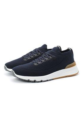 Мужские комбинированные кроссовки BRUNELLO CUCINELLI темно-синего цвета, арт. MZUWLB0253 | Фото 1