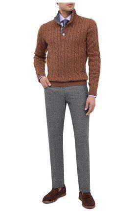 Мужской шерстяные брюки KITON светло-серого цвета, арт. UPNJSK01T54   Фото 2