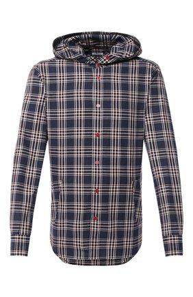 Мужская хлопковая рубашка KITON темно-синего цвета, арт. UMCMARH0748712   Фото 1