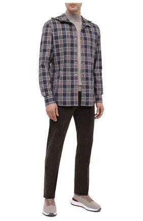Мужская хлопковая рубашка KITON темно-синего цвета, арт. UMCMARH0748712   Фото 2