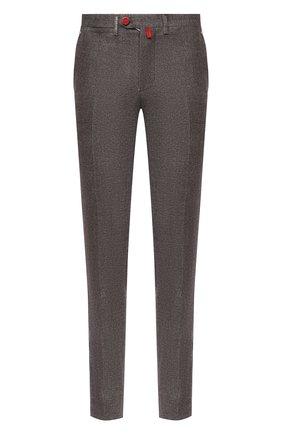 Мужские брюки из шерсти и кашемира KITON коричневого цвета, арт. UFPP79K02T04 | Фото 1 (Материал подклада: Купро; Материал внешний: Шерсть; Длина (брюки, джинсы): Стандартные; Стили: Кэжуэл; Случай: Повседневный)