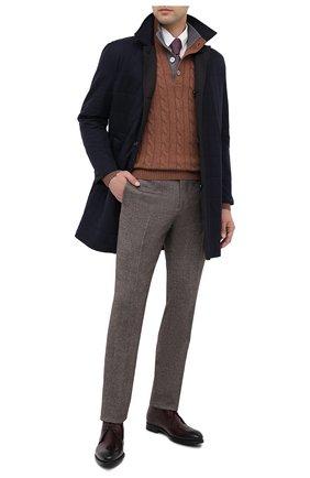 Мужские брюки из шерсти и кашемира KITON коричневого цвета, арт. UFPP79K02T04 | Фото 2 (Материал подклада: Купро; Материал внешний: Шерсть; Длина (брюки, джинсы): Стандартные; Стили: Кэжуэл; Случай: Повседневный)