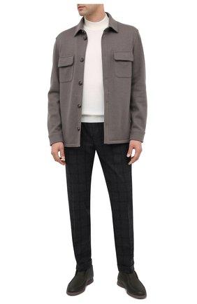 Мужские брюки из шерсти и кашемира KITON темно-серого цвета, арт. UFPLACK01T47   Фото 2