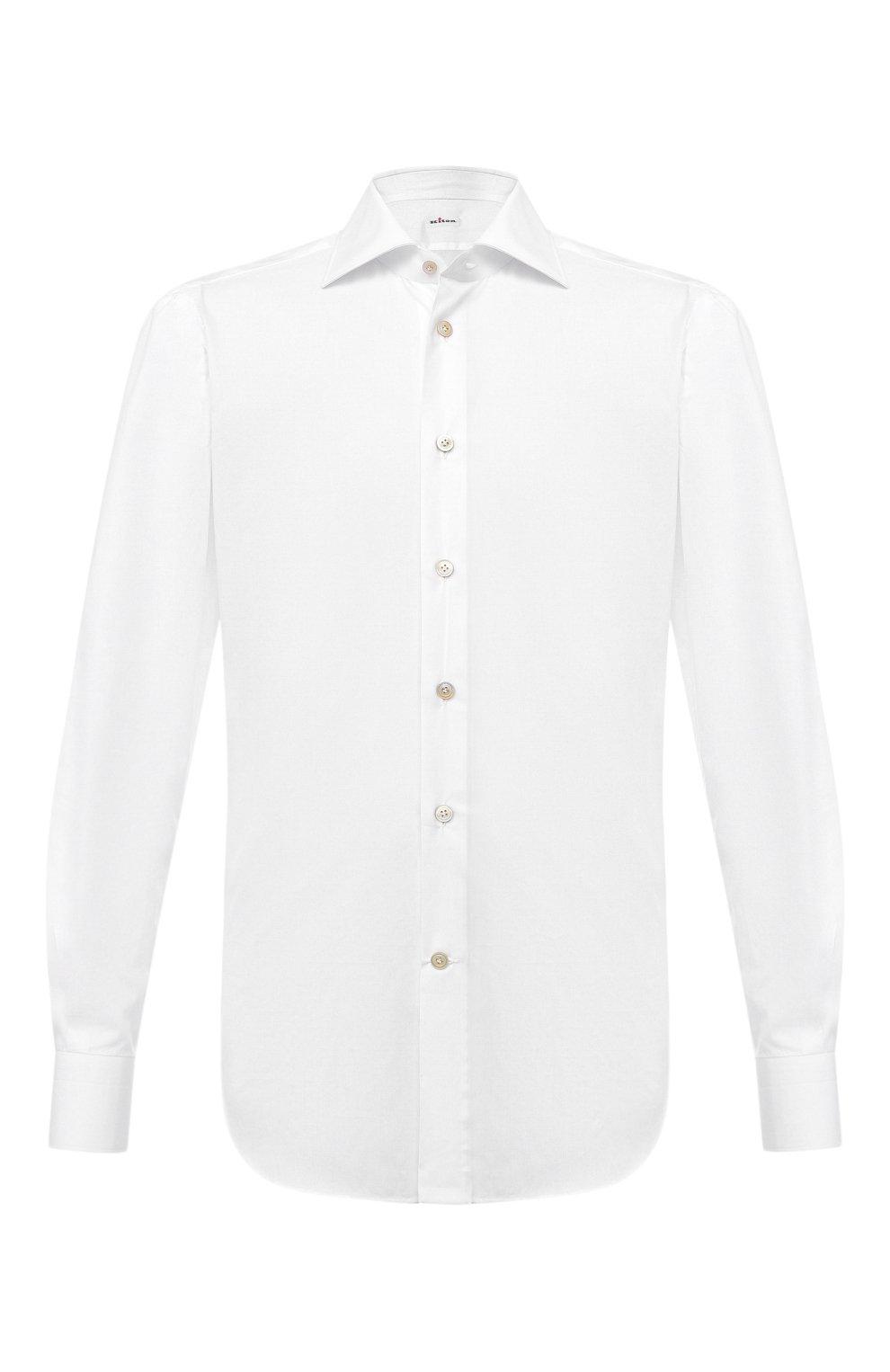 Мужская хлопковая рубашка KITON белого цвета, арт. UCIH0660201   Фото 1