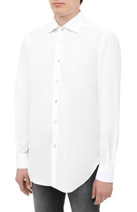 Мужская хлопковая рубашка KITON белого цвета, арт. UCIH0660201   Фото 3