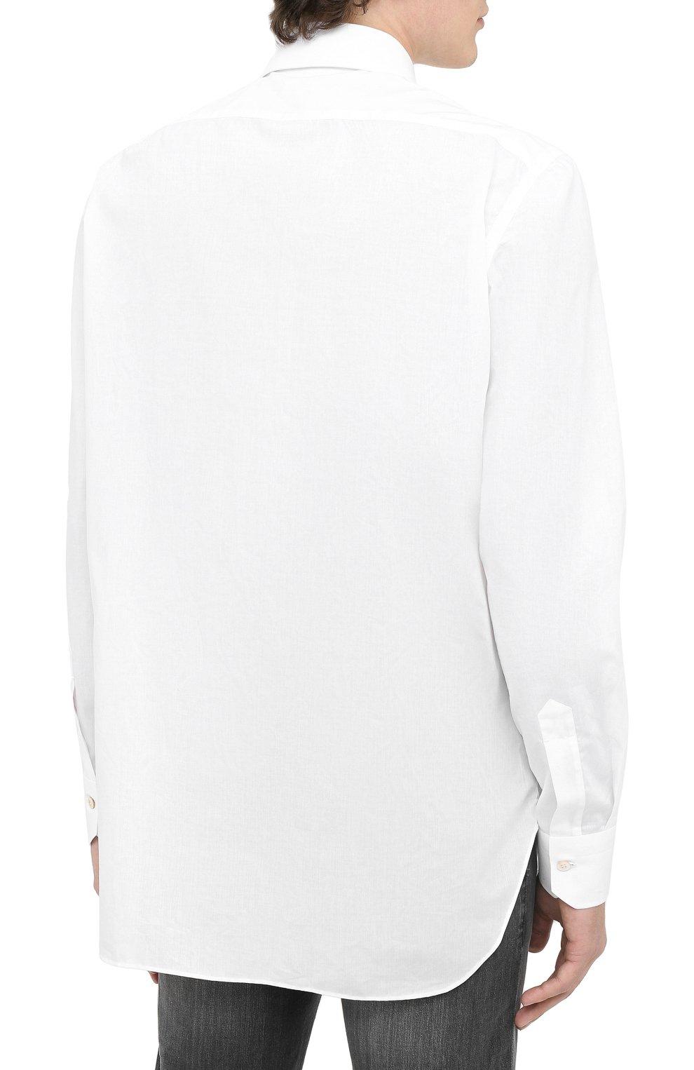 Мужская хлопковая рубашка KITON белого цвета, арт. UCIH0660201   Фото 4