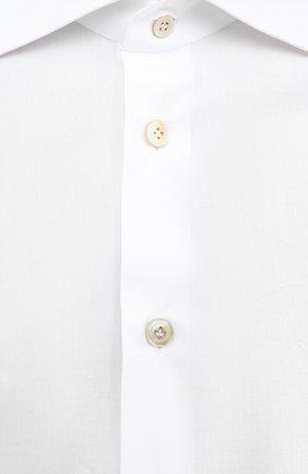 Мужская хлопковая рубашка KITON белого цвета, арт. UCIH0660201   Фото 5