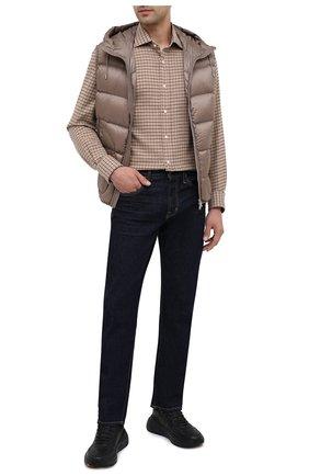 Мужская хлопковая рубашка RALPH LAUREN бежевого цвета, арт. 790806135   Фото 2 (Материал внешний: Хлопок; Рукава: Длинные; Длина (для топов): Стандартные; Случай: Повседневный; Стили: Кэжуэл)
