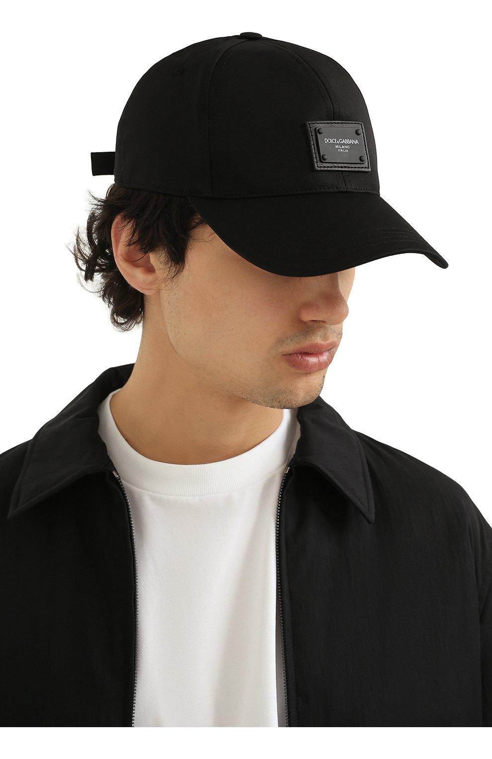 Мужской хлопковая бейсболка DOLCE & GABBANA черного цвета, арт. GH590A/FUFJR | Фото 2