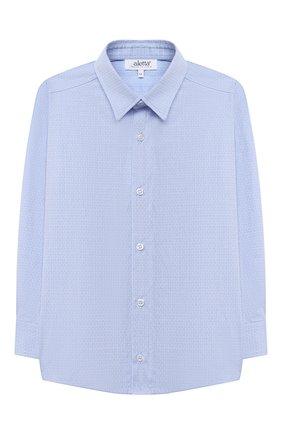 Детская хлопковая рубашка ALETTA голубого цвета, арт. AM000610ML/4A-8A | Фото 1 (Материал внешний: Хлопок; Рукава: Длинные; Стили: Классический; Ростовка одежда: 6 лет | 116 см, 7 лет | 122 см, 8 лет | 128 см)