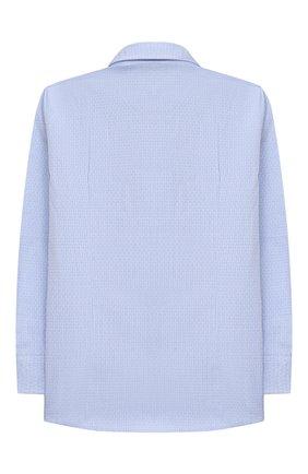 Детская хлопковая рубашка ALETTA голубого цвета, арт. AM000610ML/4A-8A | Фото 2 (Материал внешний: Хлопок; Рукава: Длинные; Стили: Классический; Ростовка одежда: 6 лет | 116 см, 7 лет | 122 см, 8 лет | 128 см)