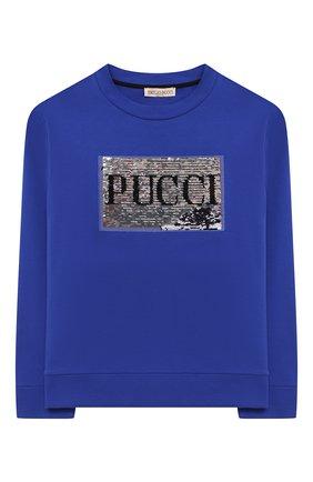 Детский хлопковый свитшот EMILIO PUCCI синего цвета, арт. 9N4040/NE020/5-8 | Фото 1