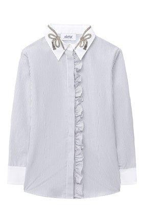 Детское хлопковая блузка ALETTA голубого цвета, арт. AC000477ML/4A-8A | Фото 1