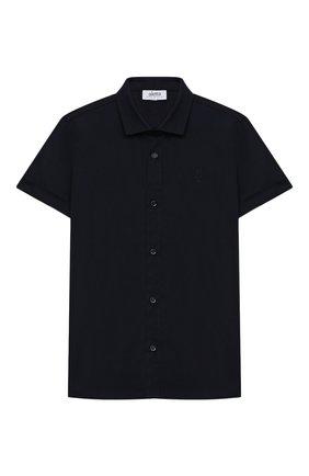 Детская хлопковая рубашка ALETTA синего цвета, арт. AM000606MC/4A-8A | Фото 1 (Материал внешний: Хлопок; Случай: Повседневный; Рукава: Короткие; Ростовка одежда: 6 лет | 116 см, 7 лет | 122 см, 8 лет | 128 см)