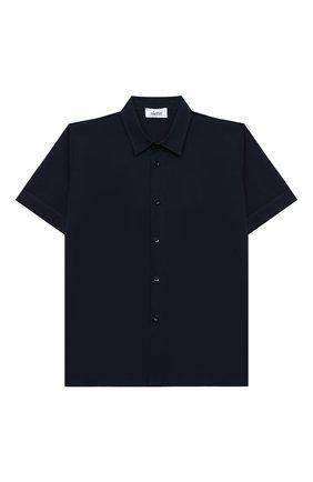 Детская хлопковая рубашка ALETTA синего цвета, арт. AMC000640MC/9A-16A | Фото 1 (Материал внешний: Хлопок; Случай: Повседневный; Рукава: Короткие; Ростовка одежда: 10 - 11 лет | 140 - 146см, 12 лет | 152 см, 13 - 15 лет | 158 см, 16 лет | 164 см, 8 лет | 128 см)