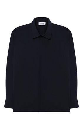 Детская хлопковая рубашка ALETTA синего цвета, арт. AMC000642ML/4A-8A | Фото 1 (Рукава: Длинные; Материал внешний: Хлопок; Случай: Повседневный; Ростовка одежда: 6 лет | 116 см, 7 лет | 122 см, 8 лет | 128 см)
