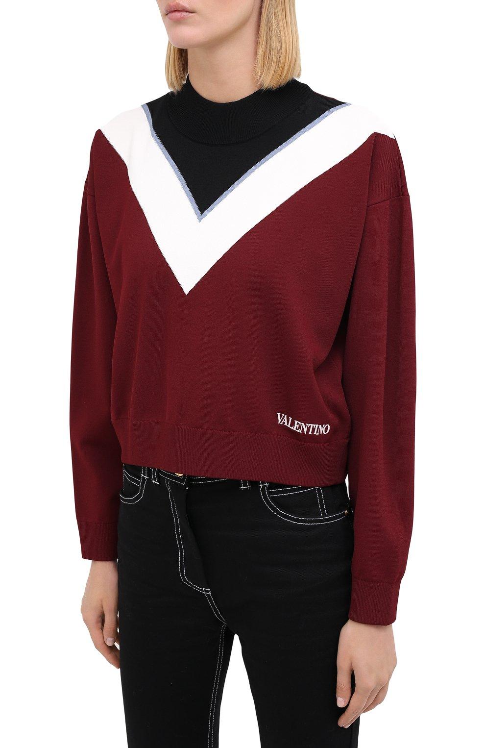 Женский пуловер из вискозы VALENTINO бордового цвета, арт. UB3KC15R5NH | Фото 3