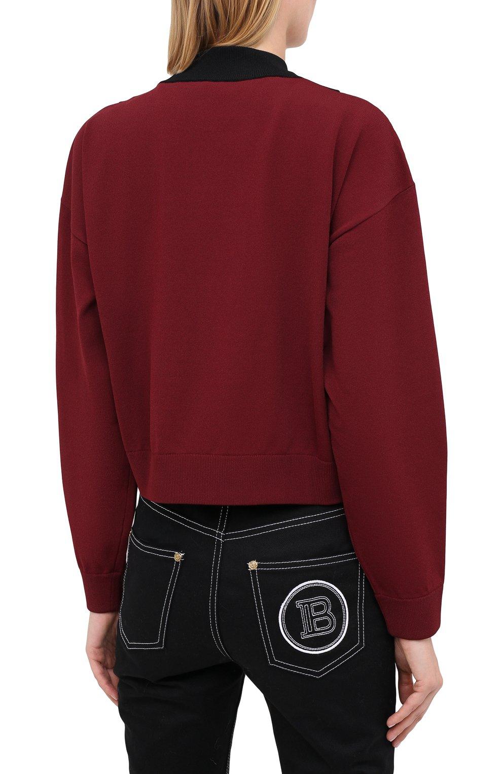 Женский пуловер из вискозы VALENTINO бордового цвета, арт. UB3KC15R5NH | Фото 4