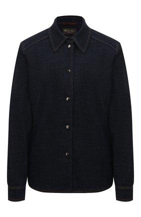 Женская джинсовая рубашка LORO PIANA темно-синего цвета, арт. FAL3374 | Фото 1