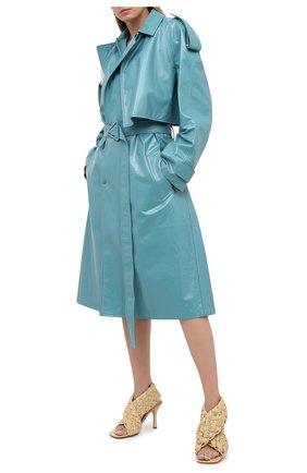 Женские кожаные босоножки bv board BOTTEGA VENETA светло-бежевого цвета, арт. 632507/VBT10 | Фото 2