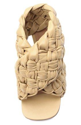 Женские кожаные босоножки bv board BOTTEGA VENETA светло-бежевого цвета, арт. 632507/VBT10   Фото 5