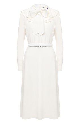 Женское платье с поясом RALPH LAUREN кремвого цвета, арт. 290815921 | Фото 1